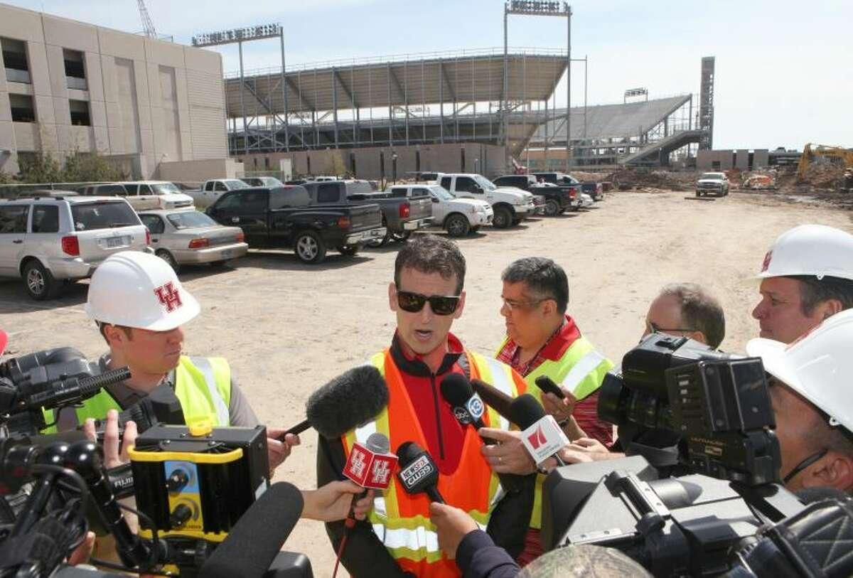 Mack Rhoades, Vice President for Intercollegiate Athletics, talks about progress March 7 at the Houston Football Stadium under construction on campus.