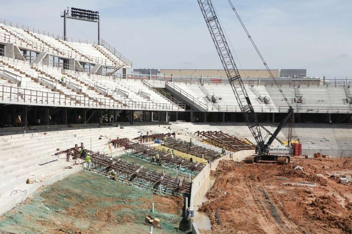 Construction of the stands at the Houston Football Stadium on campus March 7in Houston.