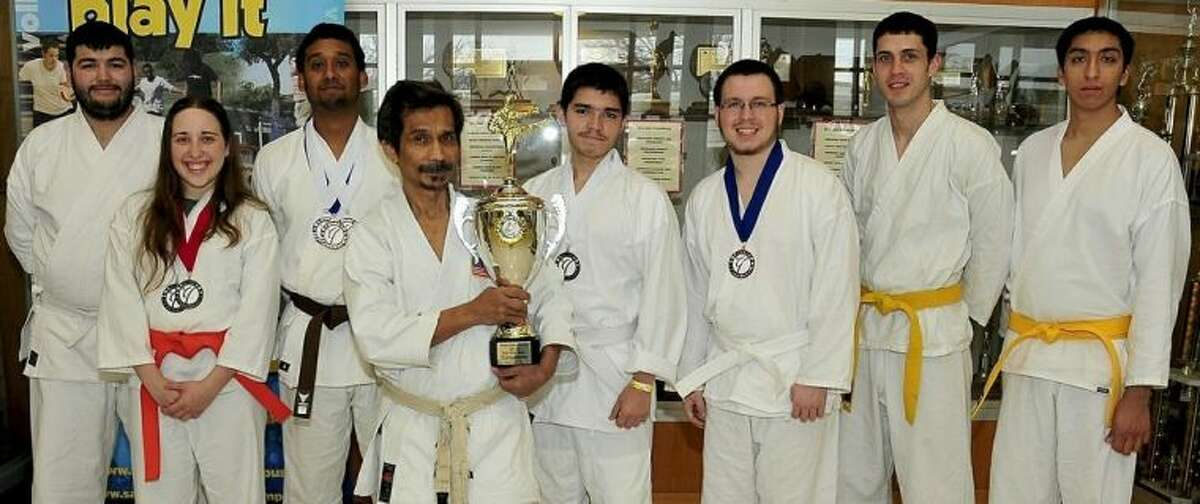 Pictured (left to right) are San Jacinto College karate students Joel Cervallos, Chalsey Morrow, and Ali Khan; Sensei Deddy Mansyur, karate instructor; and students Francisco Aguirre, Jason Hartenstein, James Mowell, and Andy Martinez. Not pictured: San Jacinto College karate students Teresa Hart, Eric Wenner, and Sarah Elam. Photo credit: Jeannie Peng-Armao, San Jacinto College marketing, public relations, and government affairs department.