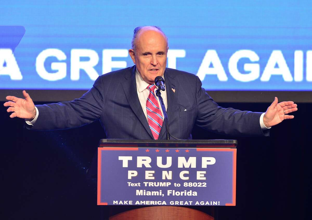 Former Mayor of New York City Rudy Giuliani introduces US Republican presidential nominee Donald Trump during a campaign event at James L. Knight Center on September 16, 2016 in Miami, Florida.