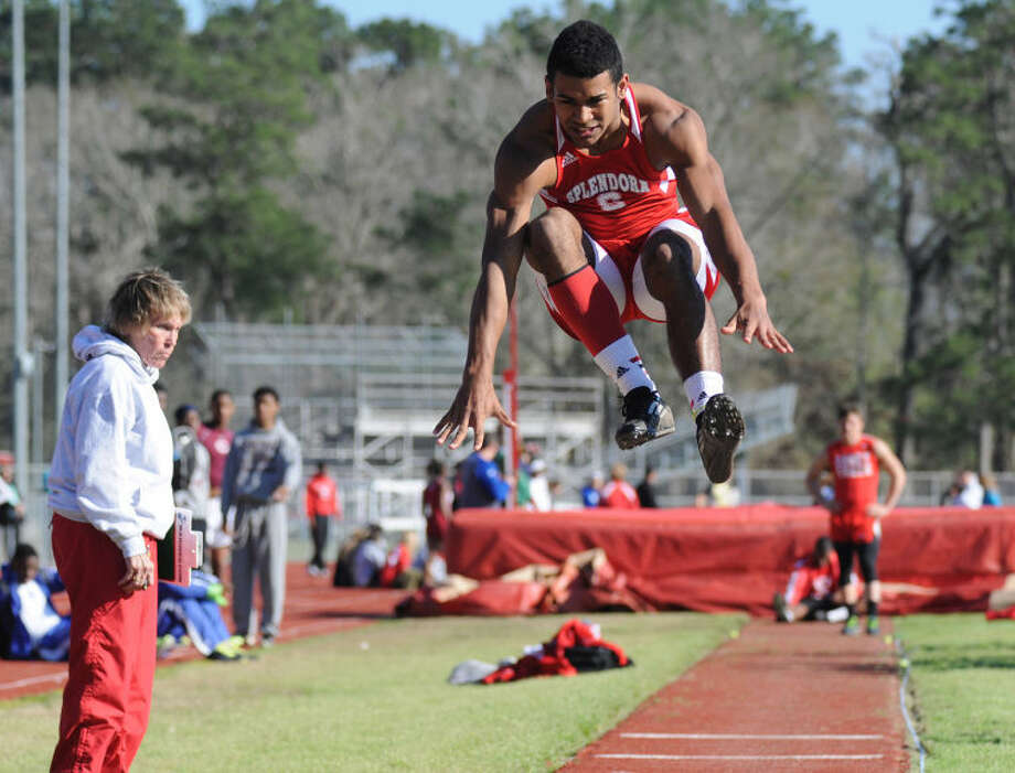 Splendora's Jay Bradford leads the area in long jump with a best distance of 23 feet, 9 inches. Photo: Keith MacPherson
