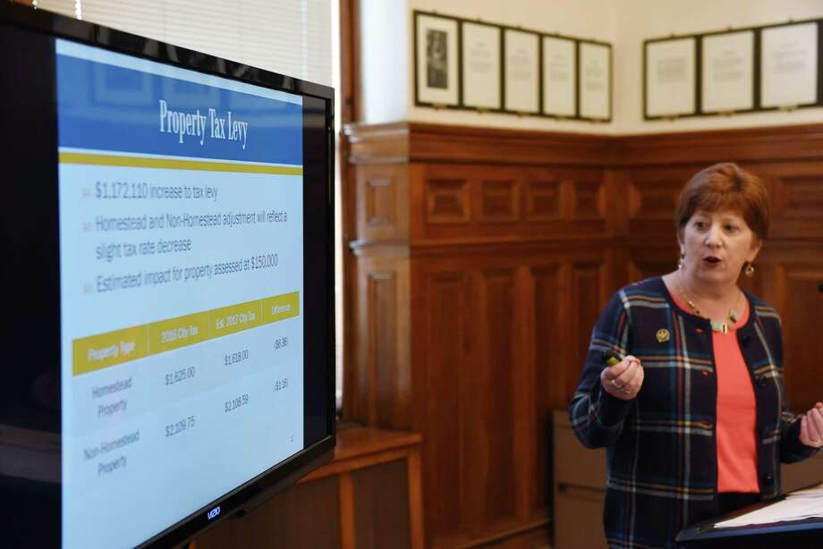 Albany Mayor Kathy Sheehan delivers her 2017 budget proposal on Monday, Oct. 3, 2016, at City Hall in Albany, N.Y. (Will Waldron/Times Union) Photo: Will Waldron / 40038242A