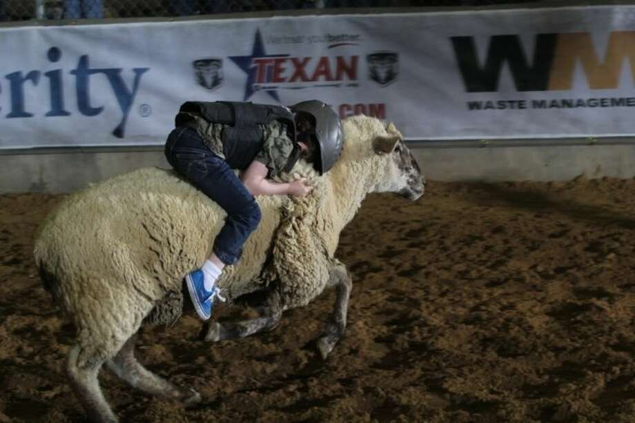 Caitlyn is pictured riding the sheep like a pro during the 2014 Humble Rodeo.