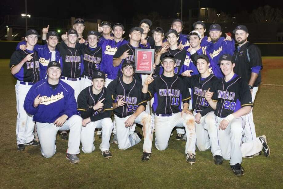 The Kinkaid baseball team is all smiles and shows off their championship plaque after they defeated Corpus Christi King, 8-5, Saturday night to win the Father Wilson/Sister Julia tournament at St. Thomas High School. The Falcons won five straight games to win the tournament and put their 0-10 start to the season behind them.