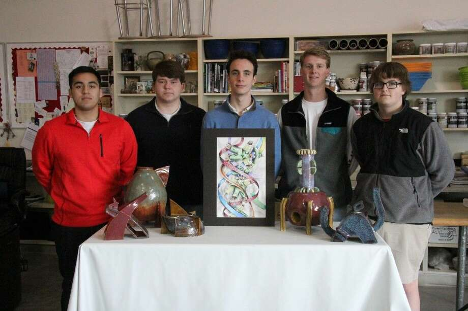 Logan Vitela, Ben Kluksdahl, James Hebert, Jack Schrimsher and Joe Minnis are the first Eagles in St. Thomas history to earn regional Gold Key recognition for their ceramics entries in the Scholastic Art and Writing competition.
