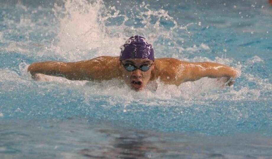 Ridge Point senior Anthony Aranda earned TISCA all-state first-team honors in the 100-yard backstroke. Photo: Staff Photo By Jason Fochtman