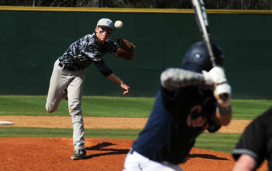 Kingwood pitcher Trevor Ford fires a pitch against Klein Collins on Thursday at Kingwood High School. Photo: Keith MacPherson