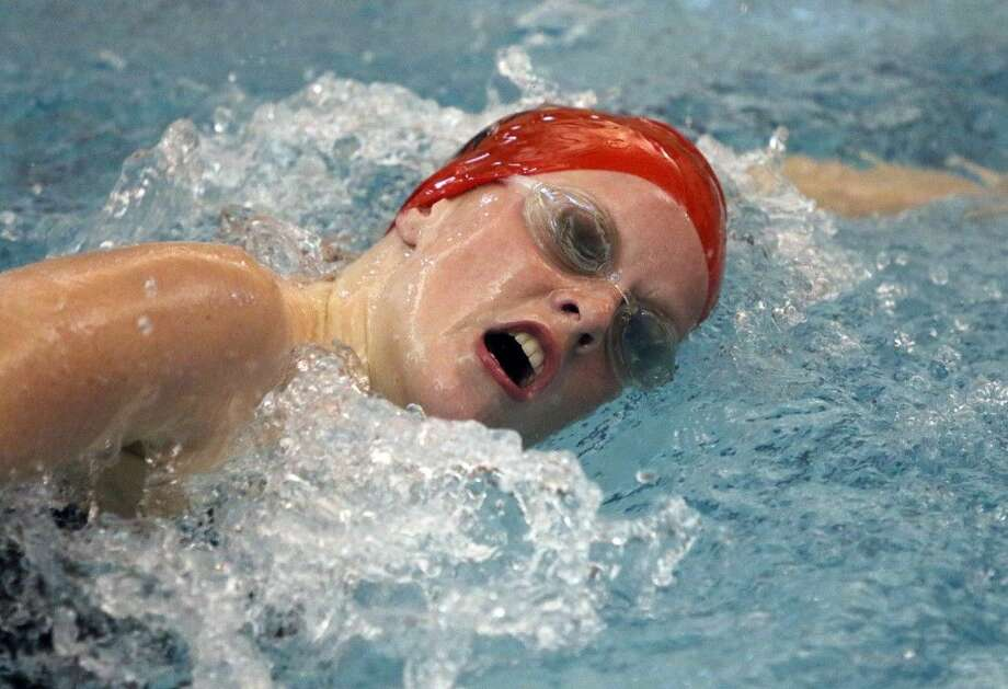 Katy's Haley Watters swims in the Girls 500 Yard Freestyle at the Duel In The Pool swim meet Jan. 10 at Katy High School in Katy. To view or purchase this photo and others like it, go to HCNPics.com. Photo: Alan Warren