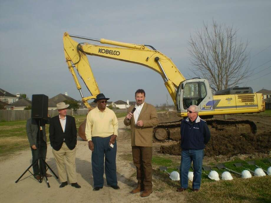 (Left-right) Fort Bend Precinct 1 Commissioner Grant Morrison, Missouri City Councilmember Don Smith, Assistant City Manger Scott Elmer and Missouri City Councilmember Floyd Emery at the groundbreaking for the a construction project that will extent Vicksburg Boulevard to Lake Olympia Parkway on Friday, Jan. 30. Photo: Zach Haverkamp