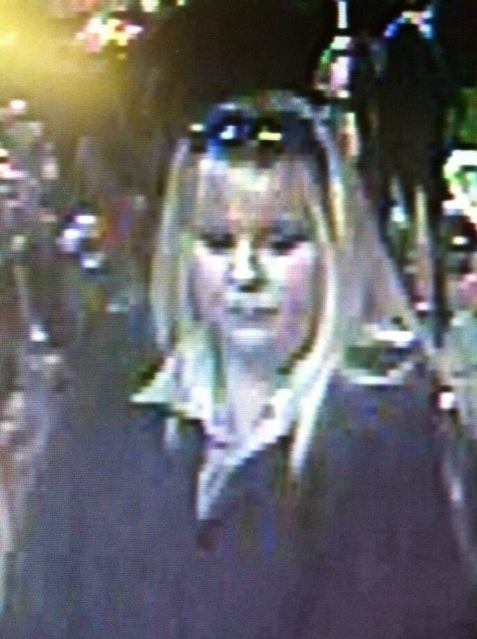 An image captured by surveillance footage of Richmond shoplifting suspect, described as a heavy-set white female with blond hair, wearing black clothing. Photo: Photo Courtesy FBCSO