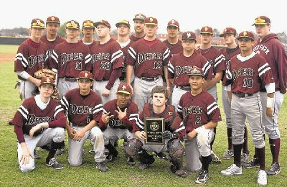 The Deer Park JV baseball team pose Saturday with their newly-claimed first-place plaque from the Pasadena ISD Tournament. Photo: Robert Avery / @WireImgId=2666700
