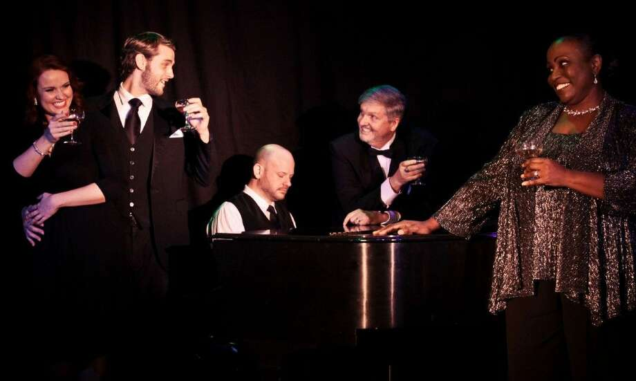 "The cast of Main Street Theater's ""Putting It Together"" - Younger Woman (Christina Stroup), Younger Man (Justin White), Observer (David Wald, at the piano), Husband (Terry Jones) and Wife (Tamara Siler)."