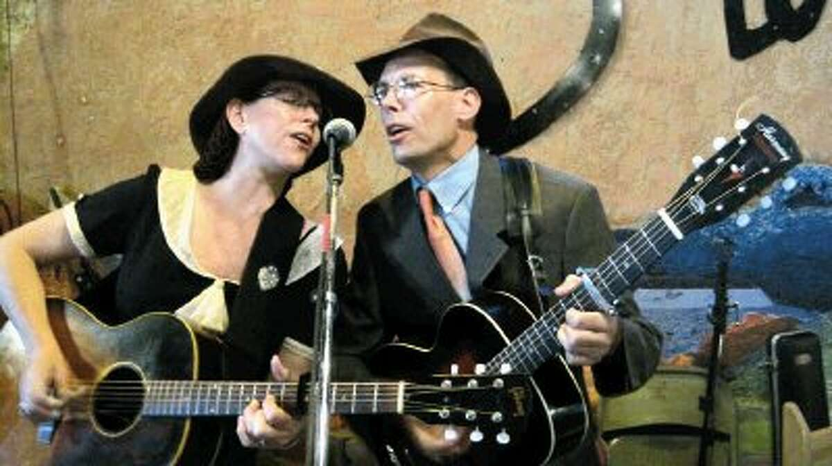 Maria Moss and Jon Hogan perform at the Starlight Theater in Terlingua, Texas.