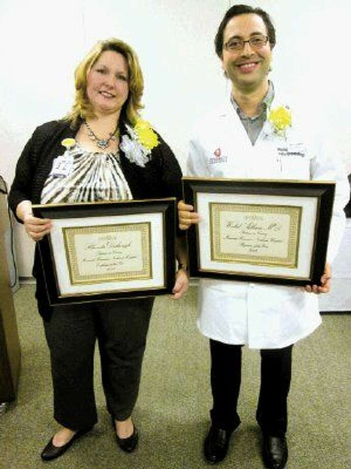 Memorial Hermann Northeast Hospital employee of the year Rhonda Dishongh and physician of the year Walid Adham, M.D.