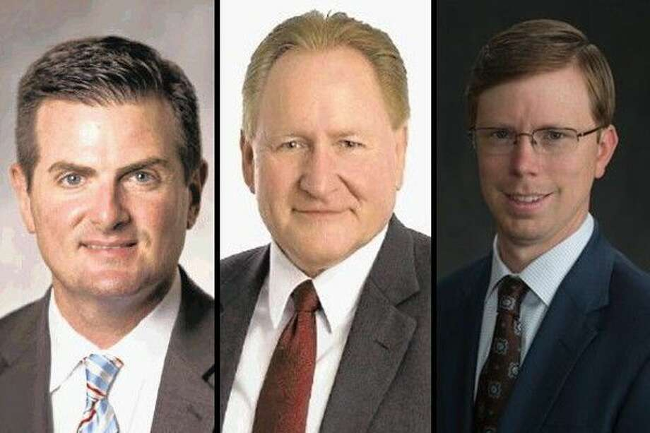Pictured, left to right, are Sen. Brandon Creighton, R-Conroe, Rep. Mark Keough, R-The Woodlands and Rep. Will Metcalf, R-Conroe.