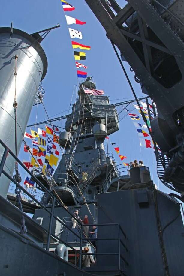 A special onboard ceremony to honor the 32 surviving crewmembers of the Battleship Texas was held Wednesday (March 12) as part of the 100th Anniversary Celebration. Photo: KRISTI NIX