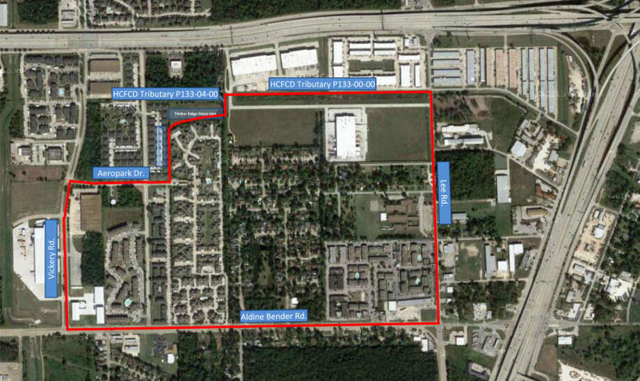 "Starting at the northwest corner of the ""East Aldine Safety Zone"" at the intersection of the Vickery Road and Aeropark Drive, and proceeding east to the entrance of the Timber Ridge Apartments; then following the Timber Ridge Apartments fence line north and then east around to its intersection with Harris County Flood Control District Tributary P133-04-00; then following Harris County Flood Control District Tributary P133-04-00 north to its intersection with Harris County Flood Control District Tributary P133-00-00; then proceeding east along the Harris County Flood Control District Tributary P133-00-00 until its intersection with Lee Road; then running south along Lee Road to Aldine Bender Road; then running west along Aldine Bender Road until its intersection with Vickery Road; and then running north along Vickery Road to the northwest corner of the safety zone at the intersection of Vickery Road and Aeropark Drive."