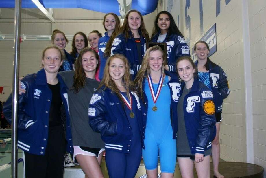 The Friendswood girls' swimming and diving team won the District 24-6A championships, competing at the Class 6A level for the first time. Photo: SUBMITTED PHOTO