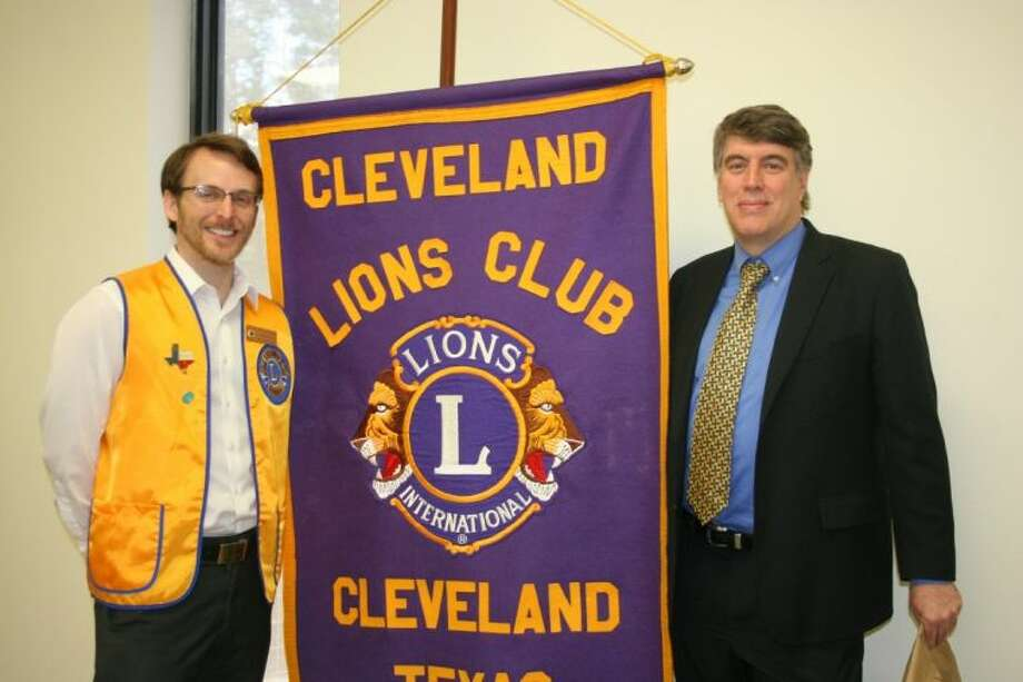 Recent congressional candidate Chuck Meyer spoke at the March 11 meeting of the Cleveland Lions Club. Club President Taylor Heilers was among those who welcomed him as the guest speaker. Photo: STEPHANIE BUCKNER