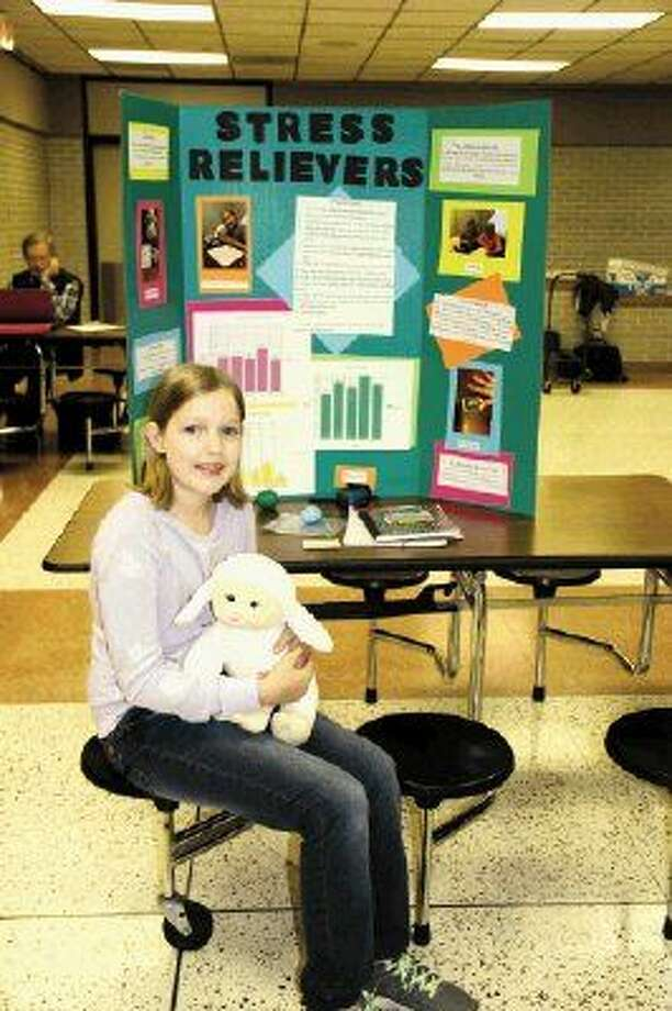 """Creekwood Middle School sixth-grader Alexis Pubentz won third place for her project """"Stress Relievers"""" in her grade level at the Humble Independent School District's Secondary School Science-Engineering Fair."""