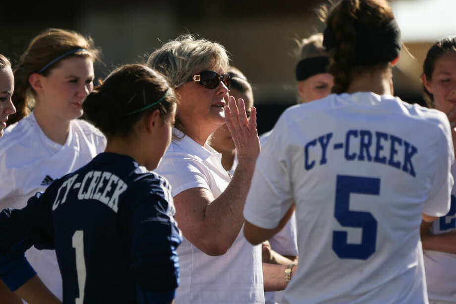 Cy Creek girls' soccer head coach Kathy Fling and the Cougars won 17-5A. To view or purchase this photo and others like it, go to HCNPics.com. (Michael Minasi / HCN) Photo: Michael Minasi