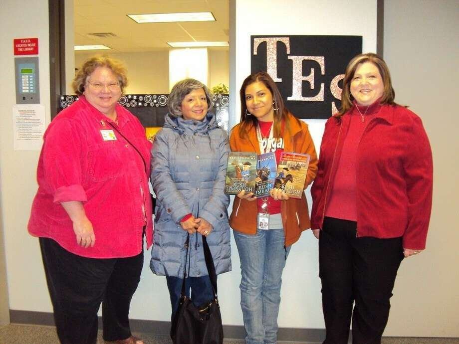 Pictured from Tomball Elementary School are, from left to right, YRTRW Literacy Chair Pat Blair, YRTRW Membership Chair Grace Aguilar Handley, Tomball E.S. Assistant Librarian Mayra Griggs, and YRTRW President Lisa Townsend. Photo: Submitted