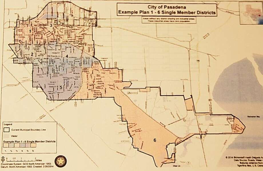 The City of Pasadena is asking residents to attend a public hearing to provide information about three options for new district maps. The meeting is scheduled for Tuesday, March 18 at 6 p.m. at Pasadena City Hall. Pictured here is a photograph of one of the three proposed maps. Residents can review all three proposed map at the City Secretary's officet at Pasadena City Hall during normal business hours. Copies will also be available to the public at the hearing. Residents can also view the new maps online at www.ci.pasadena.tx.us