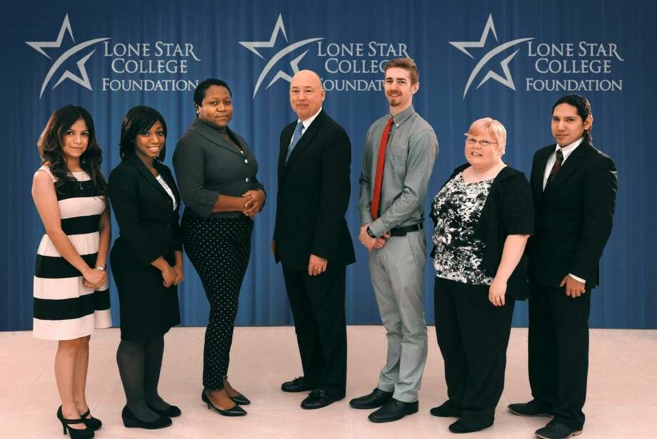 Pictured are winners of the Lone Star College Foundation student essay contest with Dr. Stephen Head, LSC chancellor. Pictured left to right are: Gabby Alcantara, LSC-Kingwood; Quashawn Sterling, LSC-Tomball; Hessami Hernandez, LSC-University Park; Dr. Head; Douglas Dennison, LSC-Montgomery; Candice Hart, LSC-CyFair; and David Rico, LSC-North Harris. Photo: Submitted
