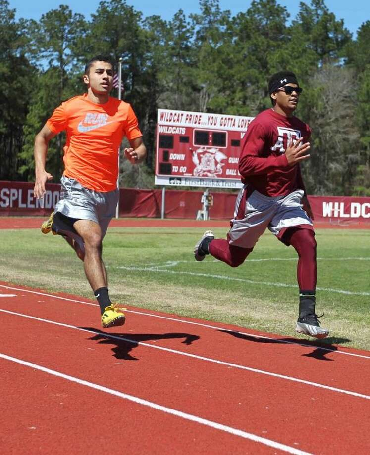 Splendora's Kagan Angers, left, and Jay Bradford are working to return to the state meet. Already they have five appearances in Austin between them. Photo: Jason Fochtman