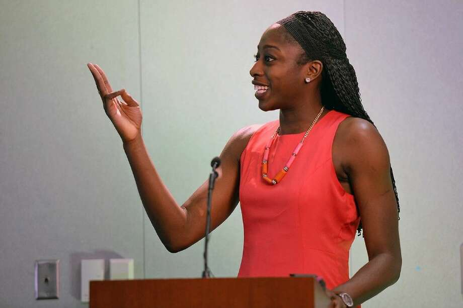 Chiney Ogwumike, speaking at Cy-Fair High School, last year, has a bigger role on ESPN. Photo: Submitted Photo