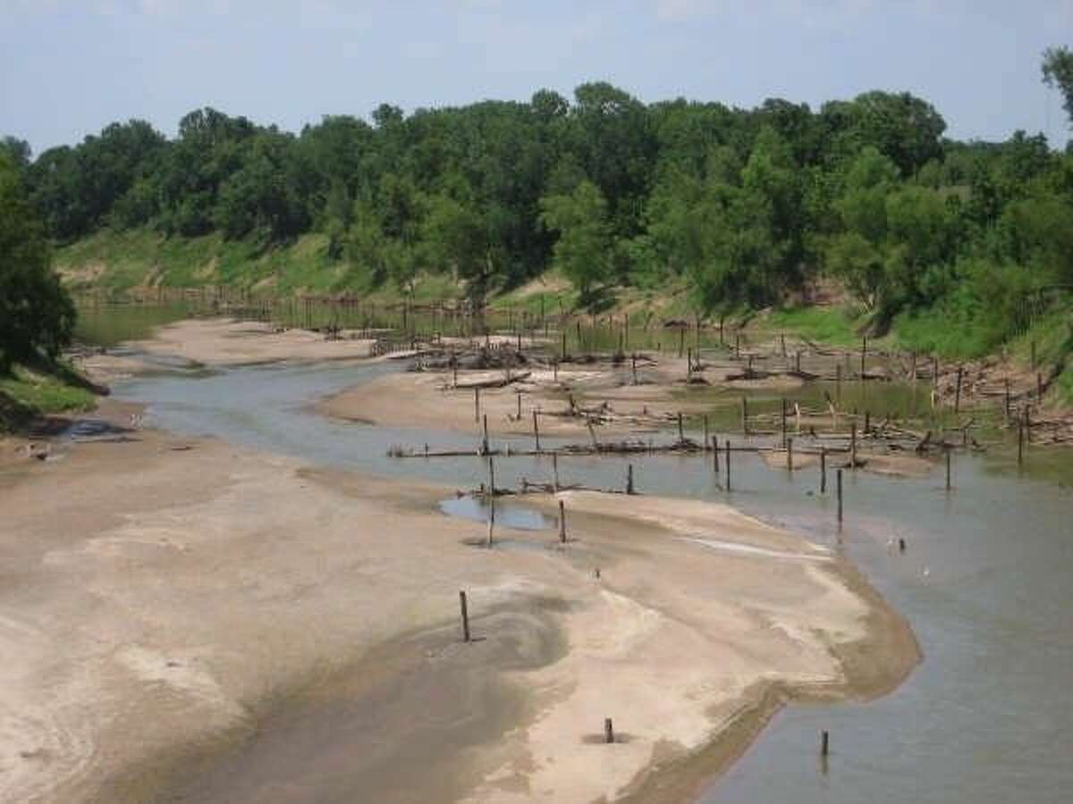Drought takes a toll on the Brazos River, as seen here in 2009.