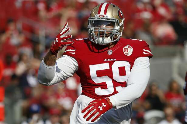 San Francisco 49ers outside linebacker Aaron Lynch during the first half of an NFL preseason football game against the Houston Texans Sunday, Aug. 14, 2016, in Santa Clara, Calif. (AP Photo/Tony Avelar)