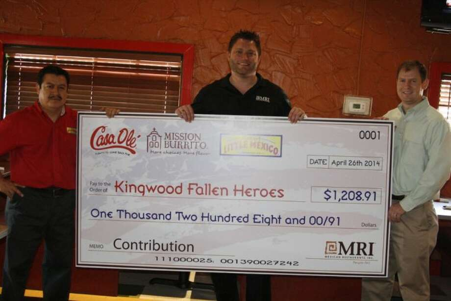 As organizers prepare for the annual Kingwood Fallen Heroes Memorial Golf Tournament, Mexican Restaurants Incorporated presented a $1,208 to ensure this year's tournament is a success. Scott Mitchell, far right, with the Kingwood Fallen Heroes Memorial Golf Tournament was presented with a check from representatives from Mexican Restaurants Incorporated who own Monterey's Little Mexico, Casa Ole and Mission Burrito.