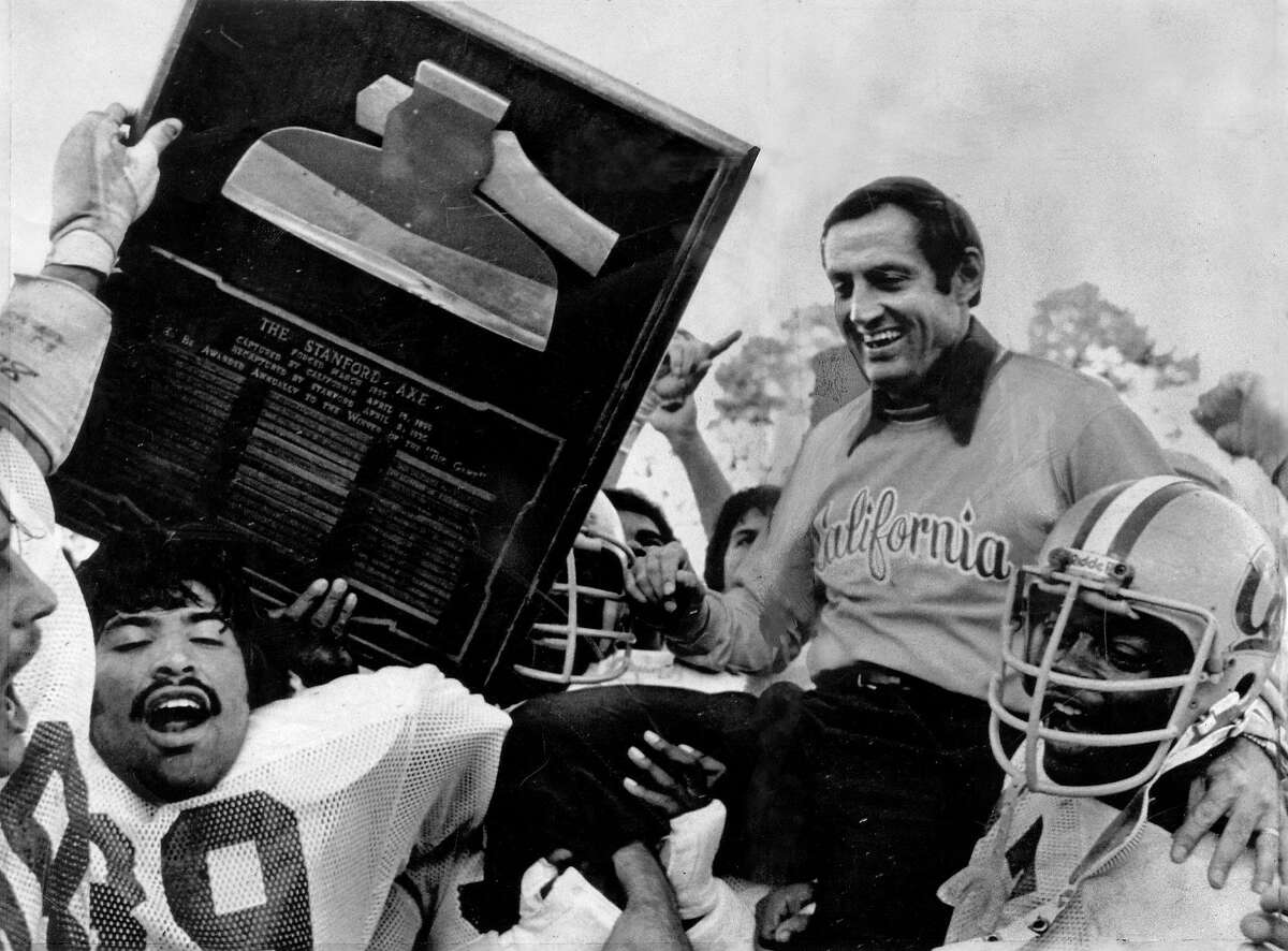 Roger Theder gets a ride from the Bears after they beat Stanford in 1979. He also led Cal to a Big Game win in 1980.