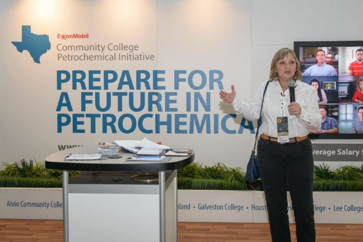 Lynne Lachenmyer, senior vice president of ExxonMobil Chemical Company, Houston, announces the company's new $500,000 contribution to the Community College Petrochemical Initiative, which seeks to train students for high-skill, high-demand jobs along the Gulf Coast.