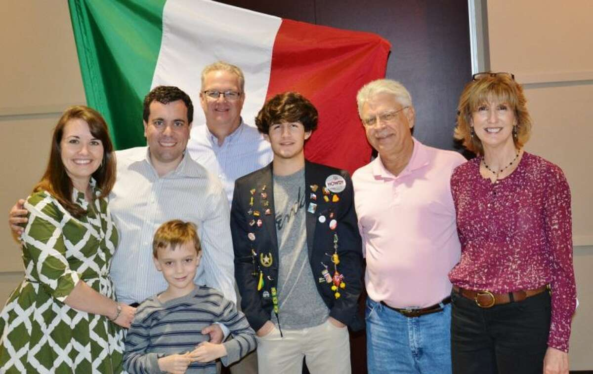 From left, Amy, Joe and Max Grinstein and West U Rotary Youth Exchange Counselor John Thornton with Italian exchange student Federico, Terry and Carol Lester. The Grinsteins and Lesters have been host families for Federico during his 10-month stay through the Rotary Youth Exchange.