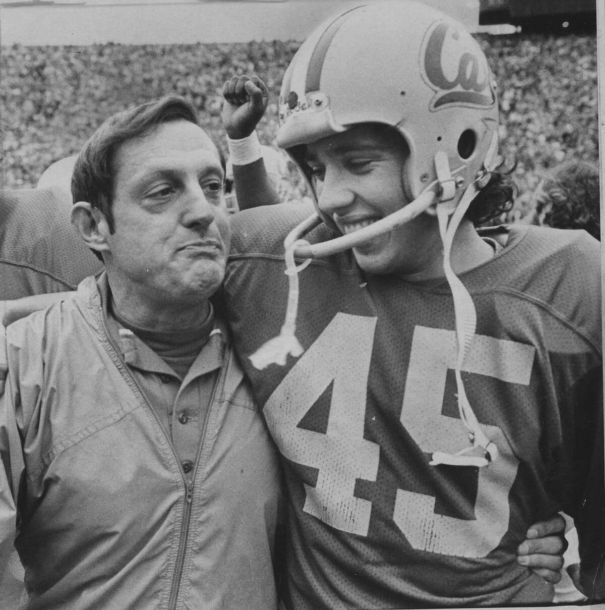 Cal football coach Roger Theder and kicker Mick Luckhurst after Cal won the Big game 11/22/1980 Photo ran 11/24/1980, p. 59