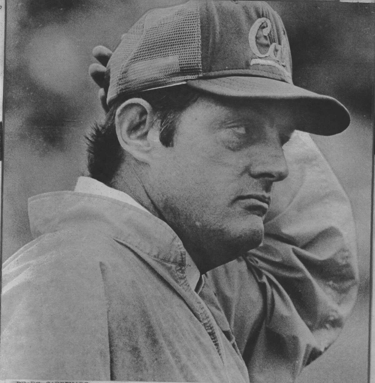 Cal football coach Roger Theder watch Cal lose to Stanford in the Big game 11/21/1981 AP photo