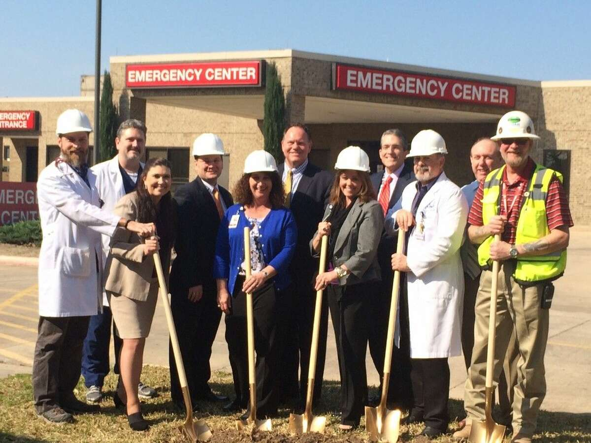 Hospital leaders broke ground on the project last Thursday on the emergency room expansion project. Pictured from left to right are Dr. Kevin Whatley, Emergency Medicine; Dr. David Wills, Chief of Staff; Michelle Henderson, Assistant Chief Nursing Officer; Brett Kinman, Chief Operating Officer; Malissa Aing, Emergency Department Director; Bruce Hillegeist, Greater Tomball Area Chamber of Commerce President; Sharon Ikeler, Chief Nursing Officer; Tom Jackson, Chief Executive Officer, Dr. Jay Kovar, Emergency Department Medical Director; Dr. Ian Glass, Chief Medical Officer; Shawn Mitchell, Project Superintendent, HOAR Construction