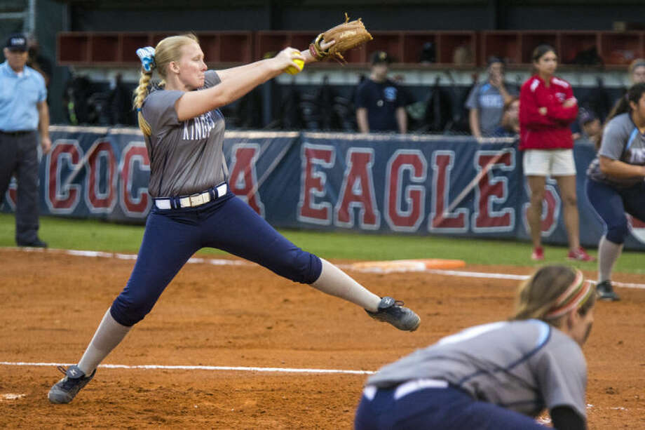 Kingwood's Ashley Johnson pitches during Kingwood's matchup against Atascocita on March 21, 2014, at Atascocita High School. (Photo by ANDREW BUCKLEY/The Observer) Photo: ANDREW BUCKLEY