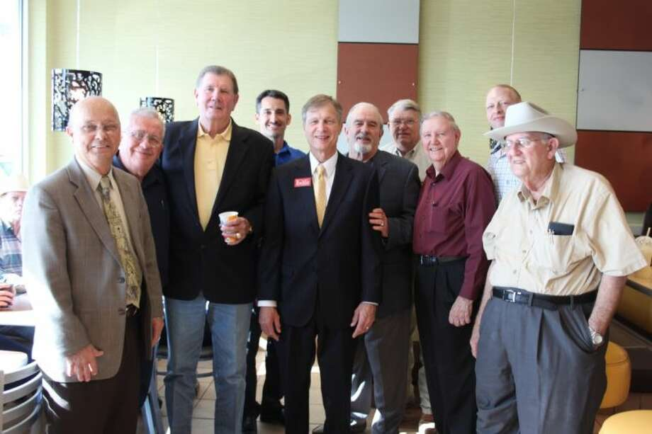 More than a dozen community leaders attended an informal gathering at McDonalds in Cleveland to meet and visit with Dr. Brian Babin (center), one of two candidates in a runoff election this May for Congressional District 36. Pictured with Babin are Aubrey Vaughan, Ken Rutter, Lloyd Kirkham, Dr. Scott Jones, Dr. Stan Jones, Pct. 2 Commissioner-elect Greg Arthur, Joe Bob Croley, Pct. 6 Constable John Joslin and Bill McAdams. Photo: VANESA BRASHIER