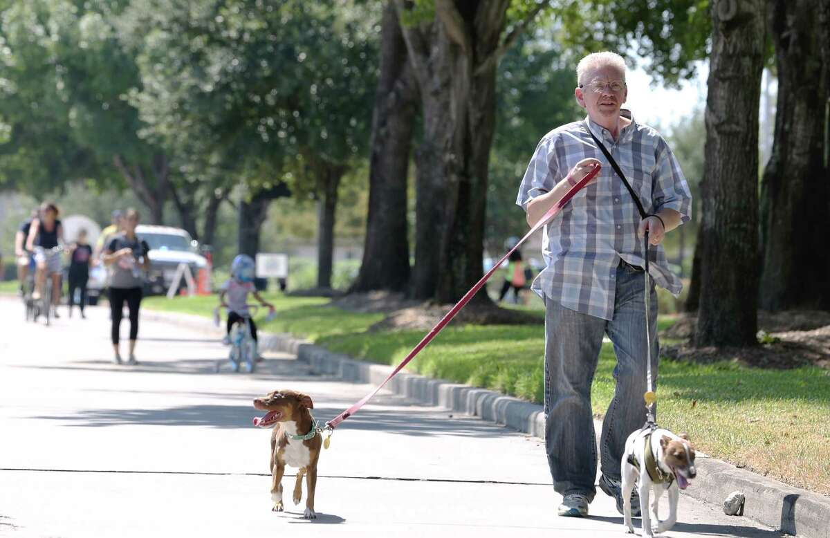 John Wilson walks his dogs Betty, left, and Hank along Eldridge Parkway to participate the first Sunday Streets event held outside Loop 610 Sunday, Oct. 2, 2016, in Houston. Wilson drove 30 minutes from Rosslyn to participate this event.