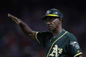 ARLINGTON, TX - JULY 25:  Third base coach Ron Washington of the Oakland Athletics during play against the Texas Rangers at Globe Life Park in Arlington on July 25, 2016 in Arlington, Texas.  (Photo by Ronald Martinez/Getty Images)