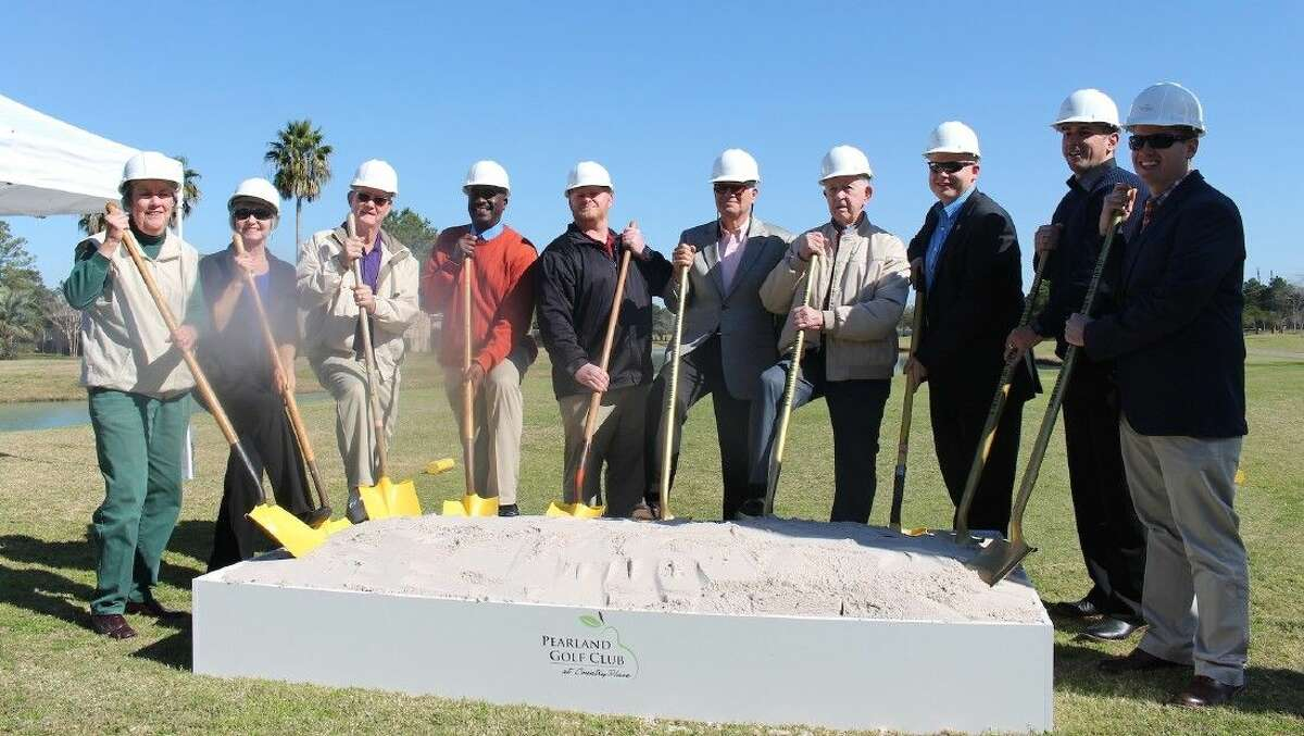 Members of the gold club management and finance teams, City Council and the Pearland Chamber of Commerce symbolically break ground on the back 9.