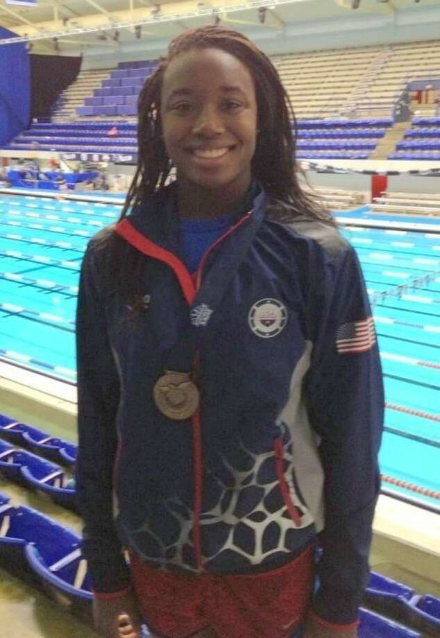 First Colony Swim Team's Simone Manuel broke two more national records this past week, setting the 50- and 100-yard freestyle marks. Photo: Submitted Photo