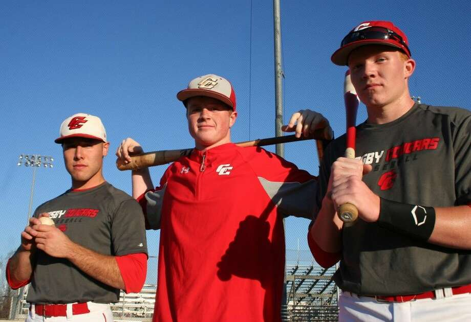 Sean Bergeron (right), Nathan Gabryszwski and Osman Quintana are confident heading into their 2015 baseball season. Photo: Nate Brown