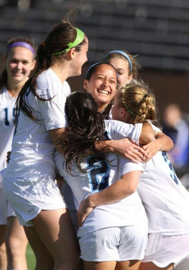 Clements celebrates a goal during the I-10 Shootout Championship game Jan. 18 at Rhodes Stadium in Katy. The Lady Rangers repeated as District 23-5A champions. To view or purchase this photo and others like it, go to HCNPics.com. Photo: Alan Warren