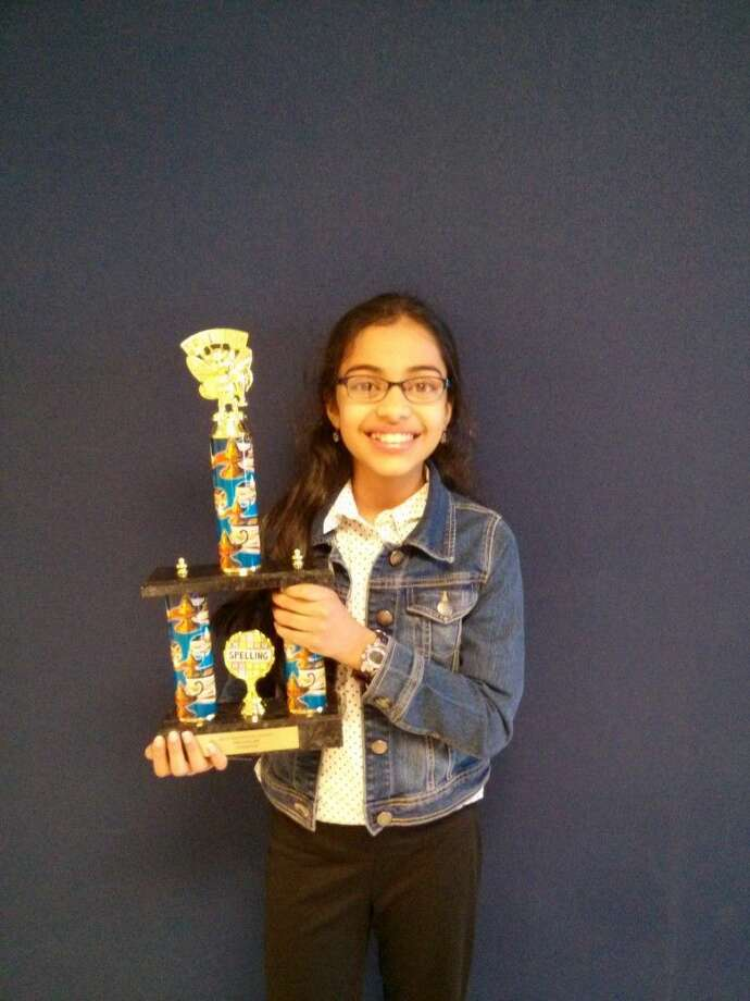 Tanya Roysam earned first place in the bee. Roysam is a 7th grade student at Friendswood Junior High. She received a large trophy and will advance to the next level, a city bee, the Houston Public Media Spelling Bee in March.