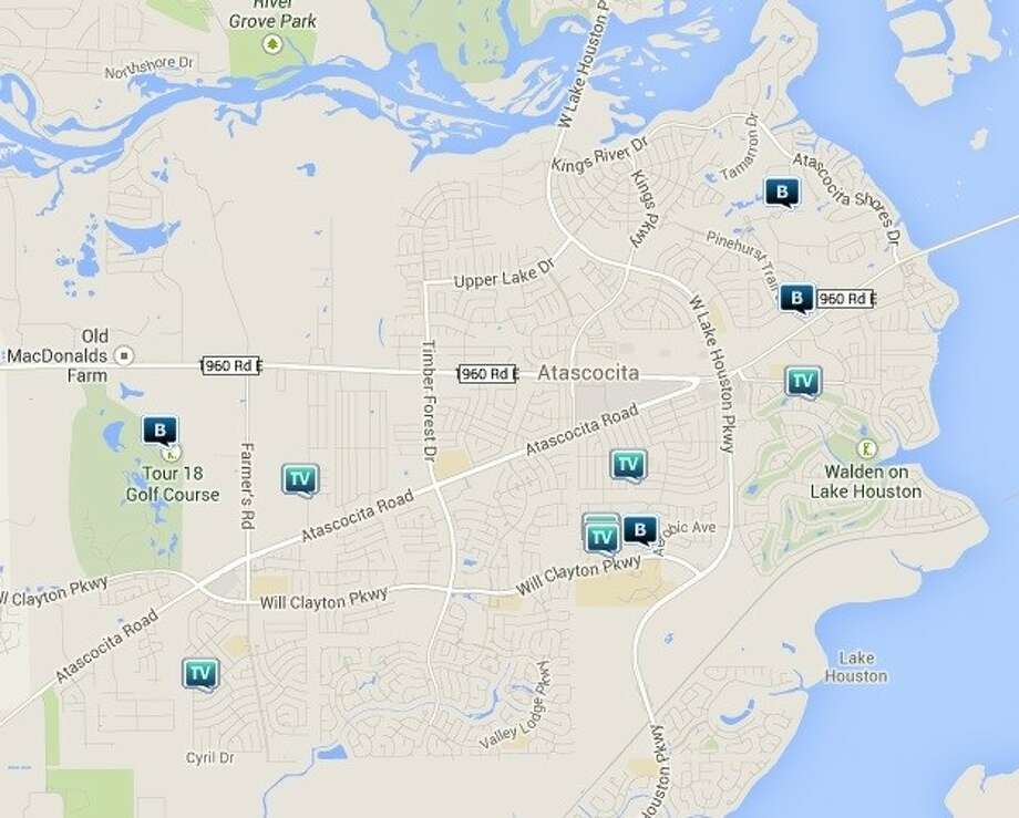 Law enforcement activity in the Atascocita area March 14-20. Legend: R - robbery; V - stolen vehicle; TV - theft from vehicle (BMV); B - burglary. Photo: Map By Crimereports.com