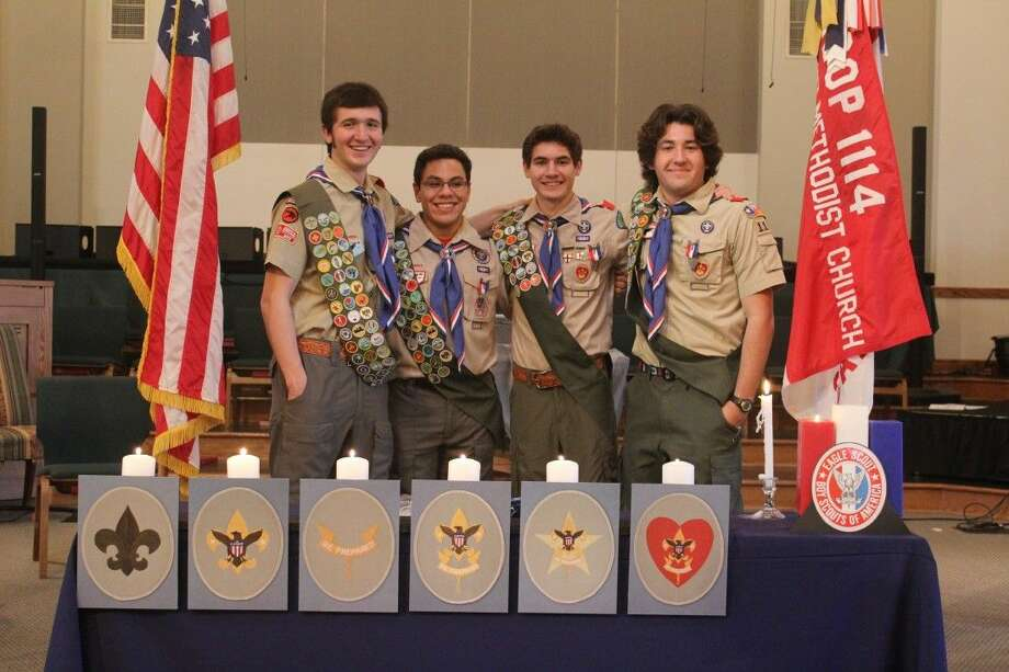 Trey Valenzuela, Aaron Adkisson, Kirby Hicks, and Christian Weirich, all seniors at Tomball High School, celebrated earning Scouting's Highest Honor at their Eagle Court of Honor at Tomball United Methodist Church, on February 21. Photo: Submitted
